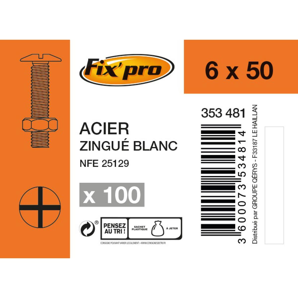 Boulon poêlier acier zingué - 6x50 - 100pces - Fixpro