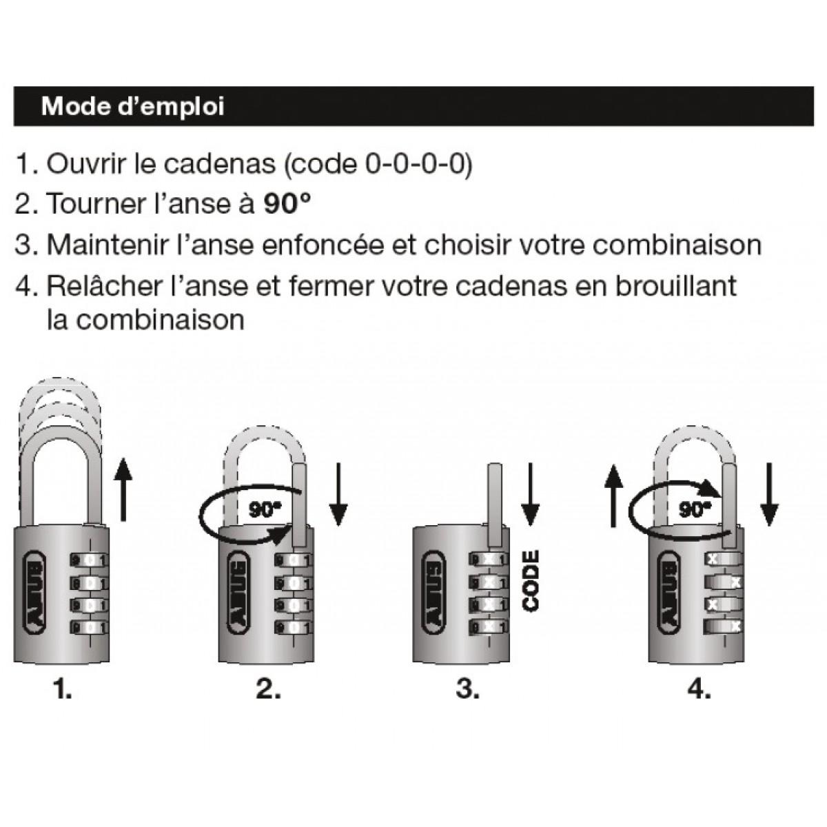 Cadenas noir / aluminium à combinaison interchangeable série 155 Abus - Anse Hauteur 15,5 mm - Diamètre 3 mm