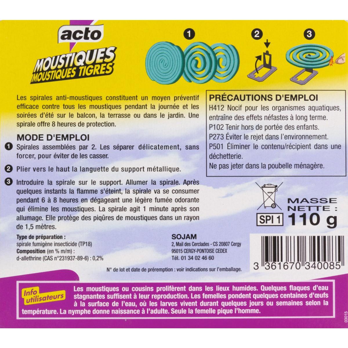 Moustiques spirale Acto - 10 spirales