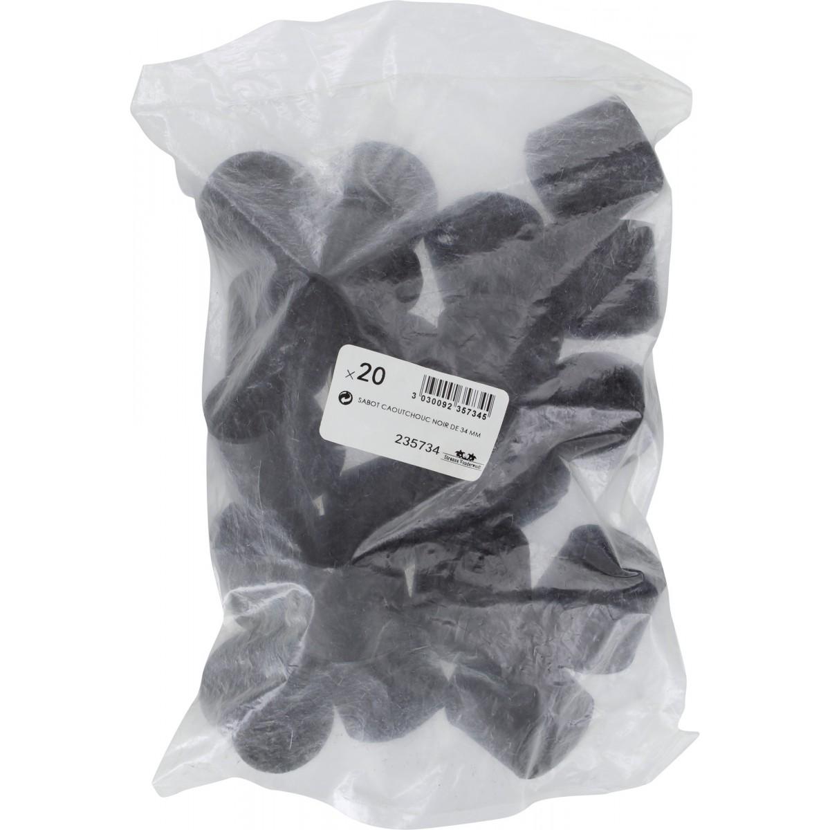 Embout enveloppant caoutchouc noir Shepherd - Diamètre 34 mm - Vendu par 20