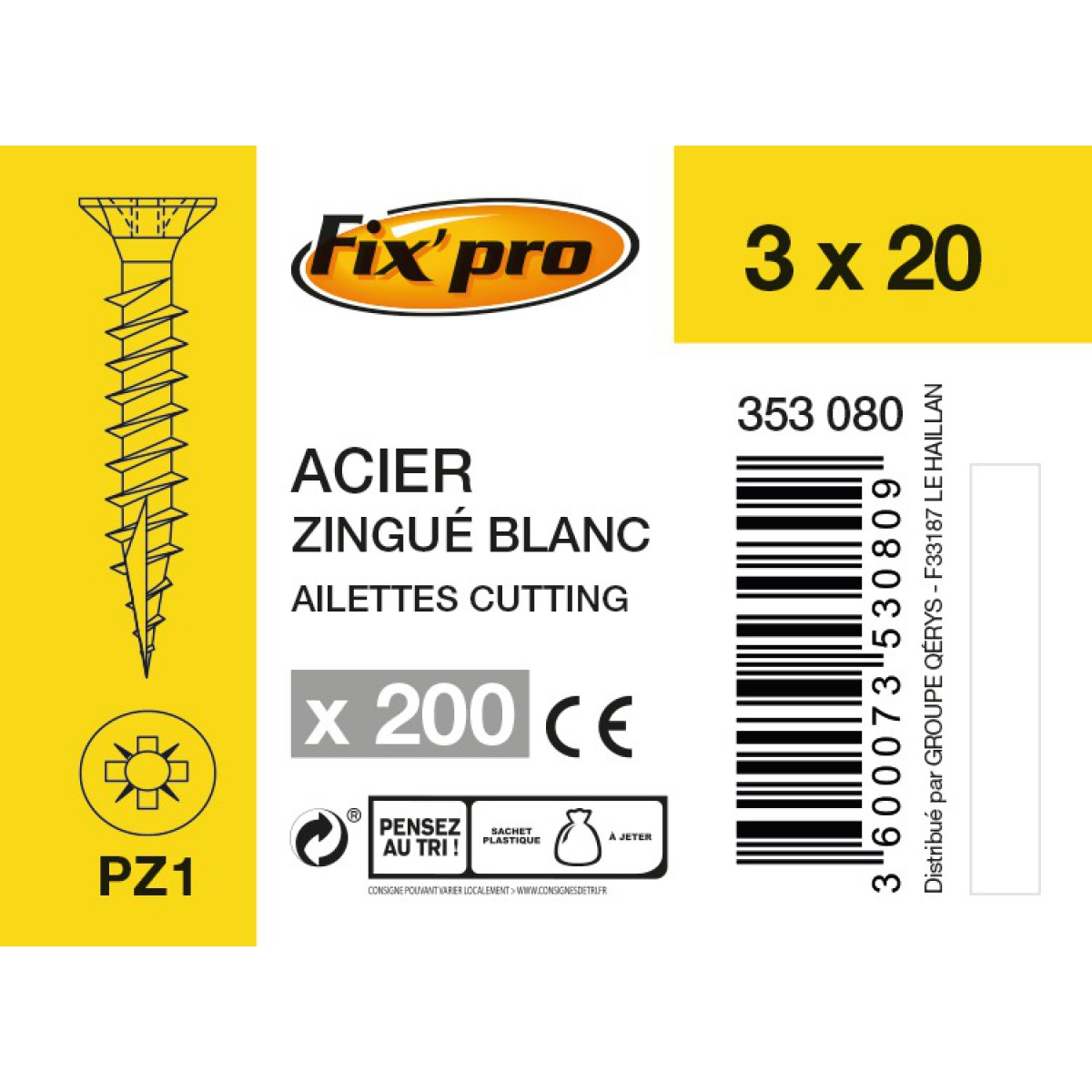 Vis à bois tête fraisée PZ - 3x20 - 200pces - Fixpro