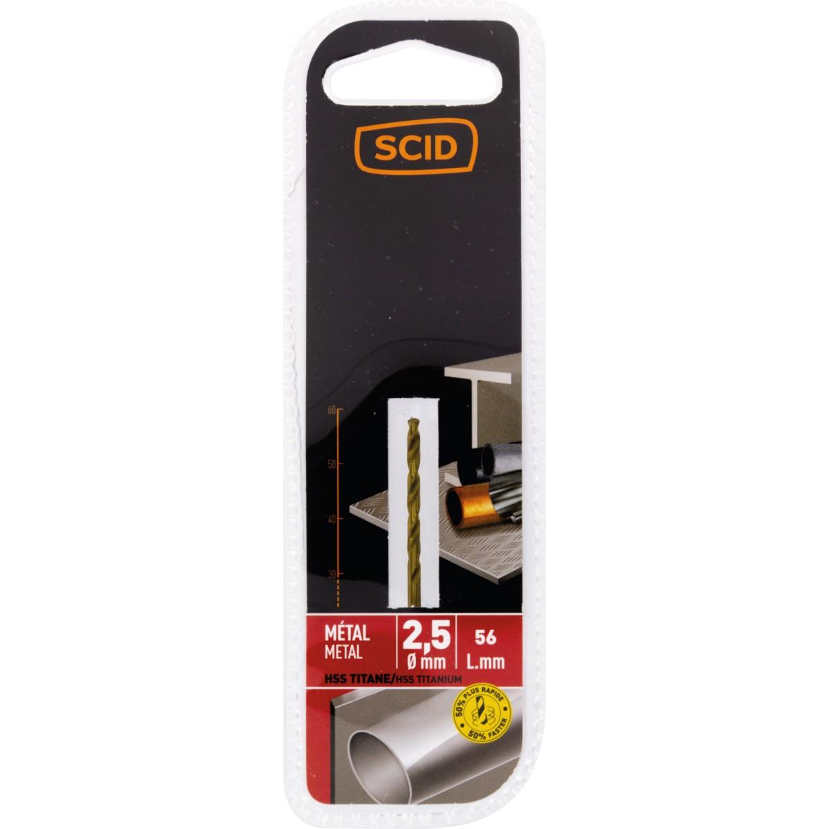 Foret métal HSS titane SCID - Longueur 56 mm - Diamètre 2,5 mm
