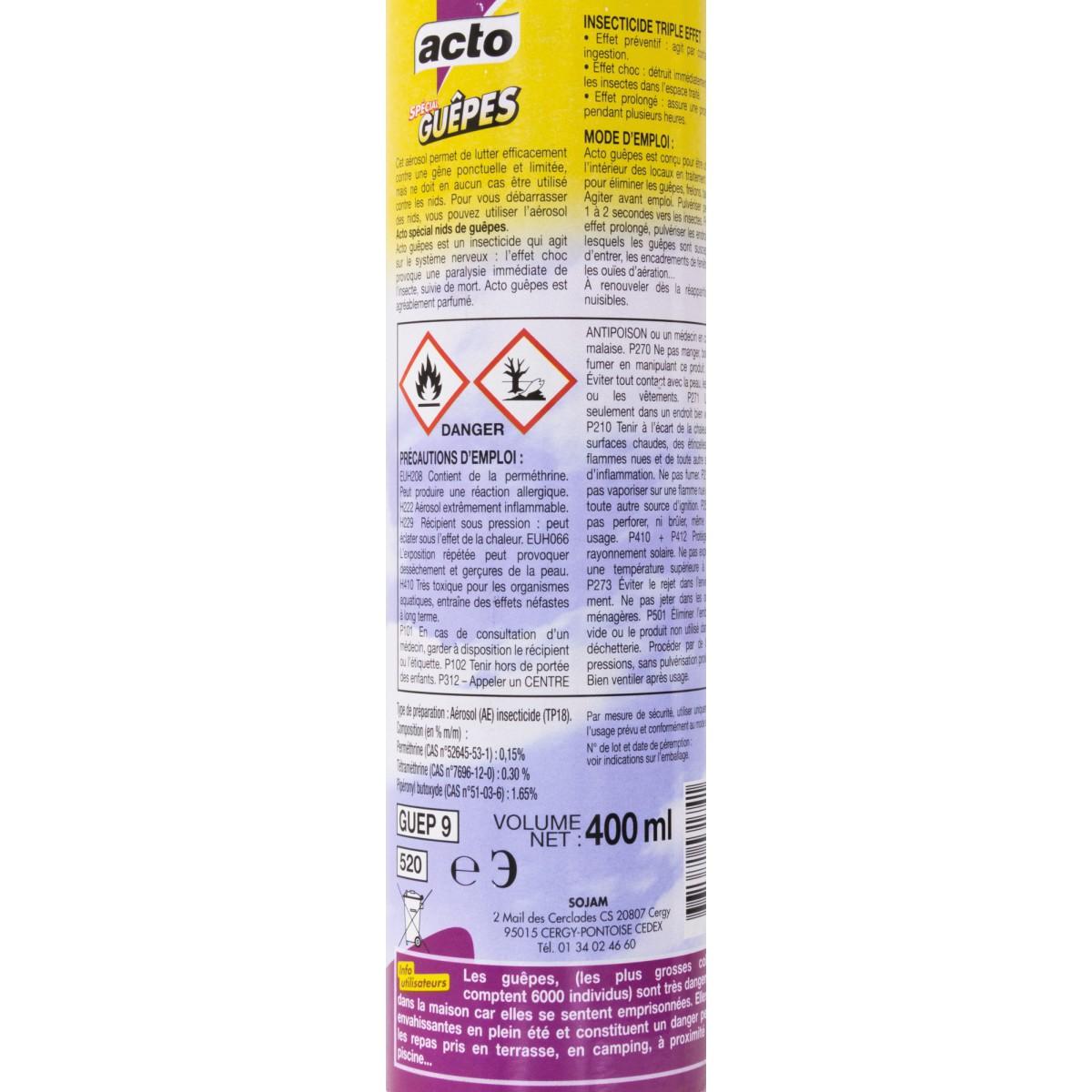 Spécial guêpes triple effet Acto - Aérosol 400 ml