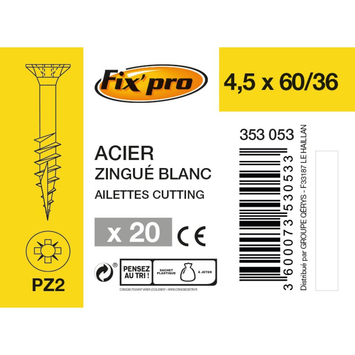 Vis à bois tête fraisée PZ - 4,5x60/36 - 20pces - Fixpro