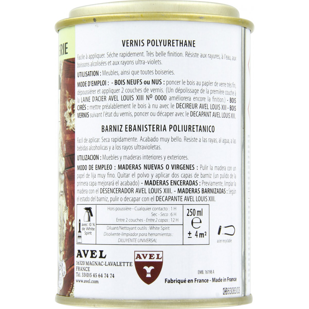 Vernis bois brillant 250 ml Avel Louis XIII - Acajou