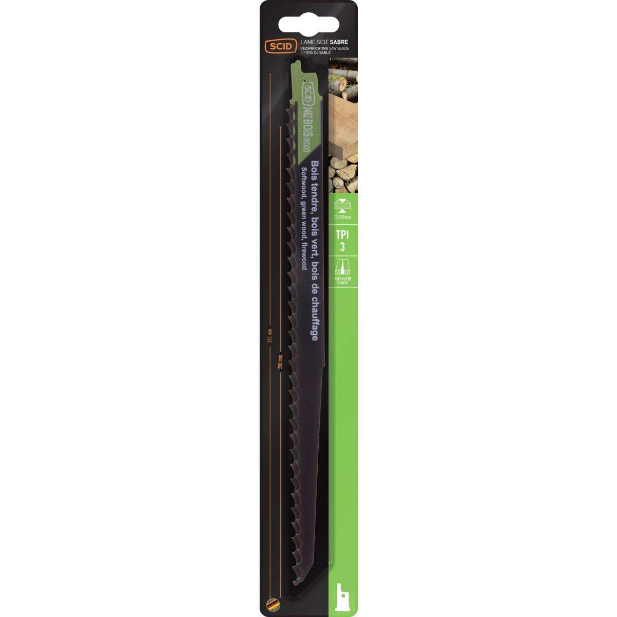 Lame de scie sabre classique bois SCID - Epaisseur 1,2 mm - Longueur 300 mm - Vendu par 2