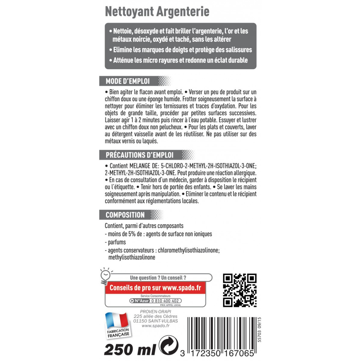 Nettoyant argenterie Spado - Flacon 250 ml