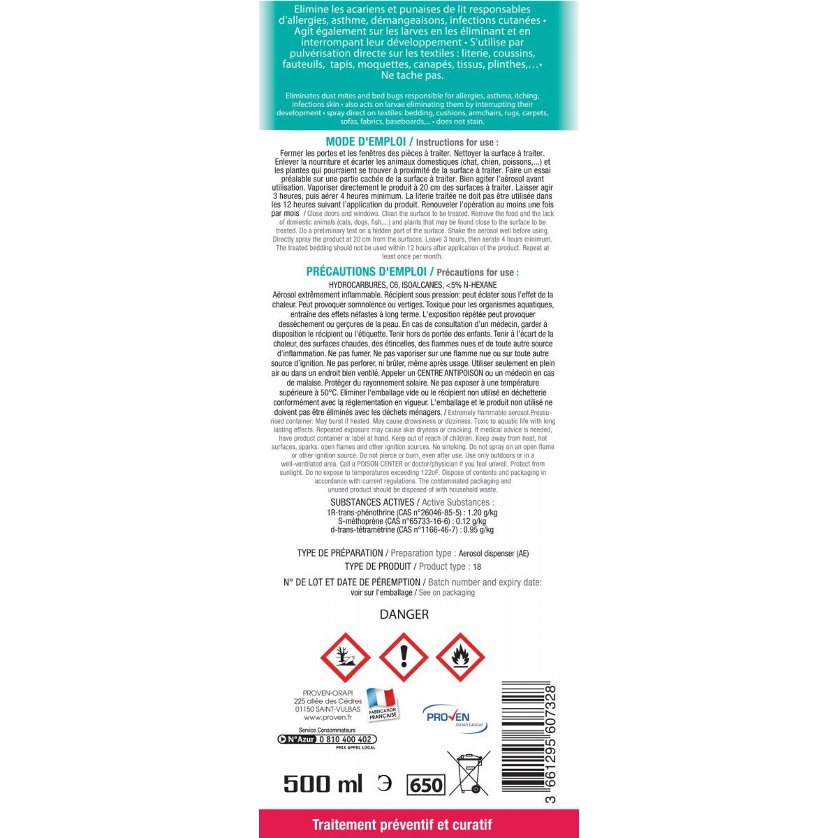 Antiacariens & punaises de lit Wyritol - Aérosol 500 ml