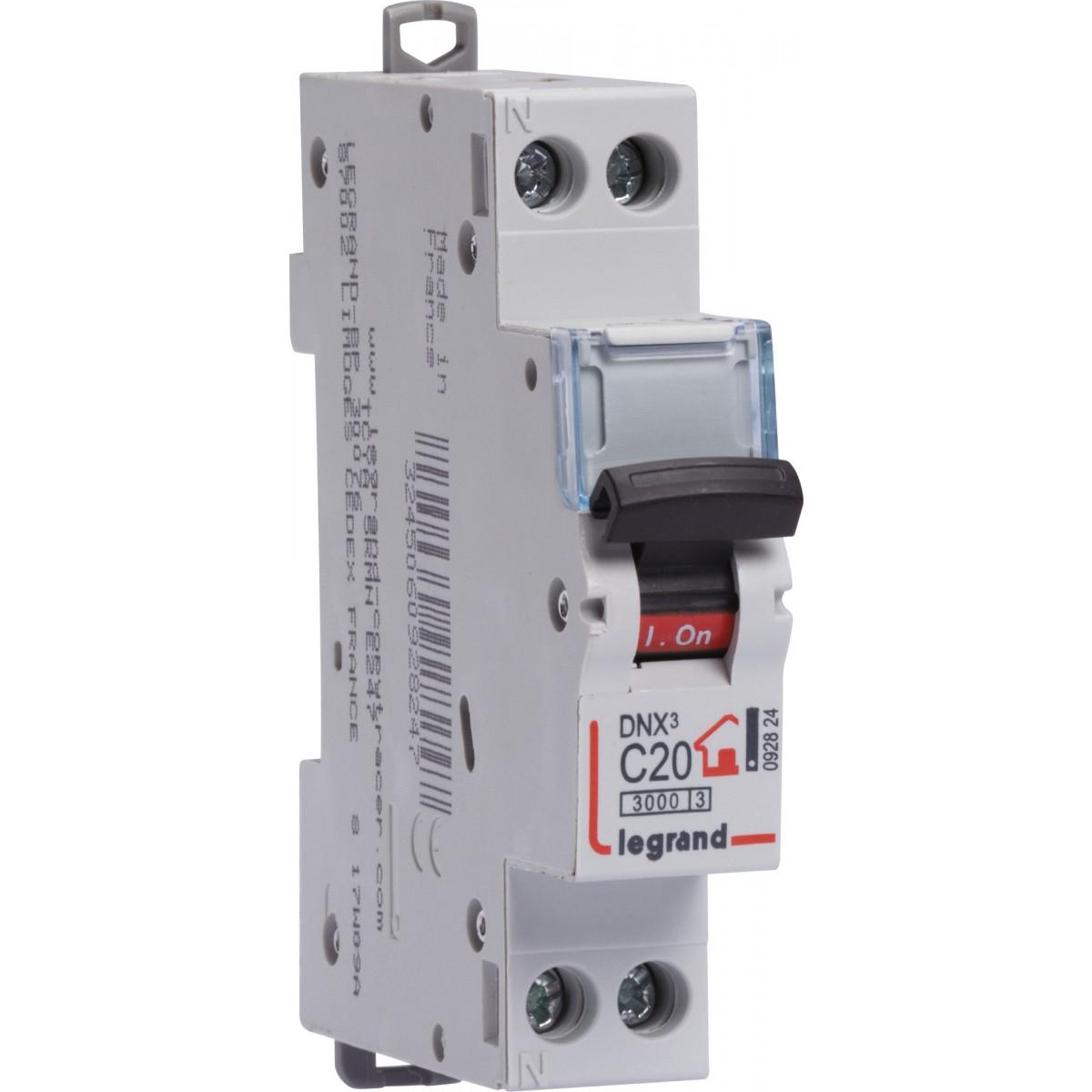Disjoncteur DNX type C Legrand - Unipolaire + neutre - Intensité 25 A