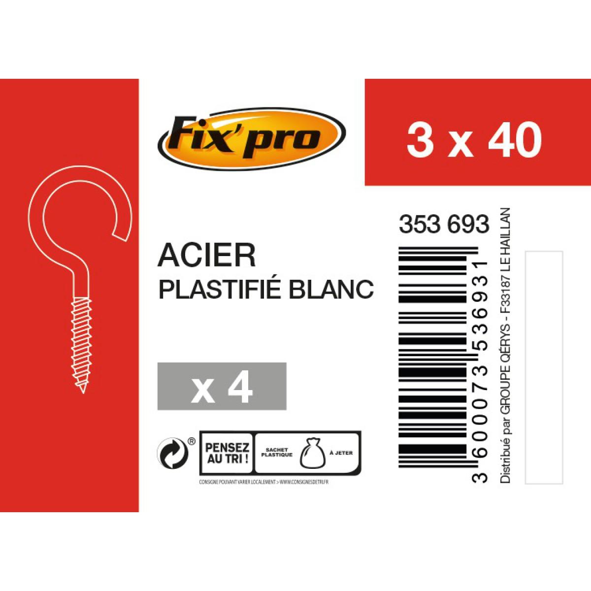 Crochet à visser acier plastifié blanc - 3x40 - 4pces - Fixpro