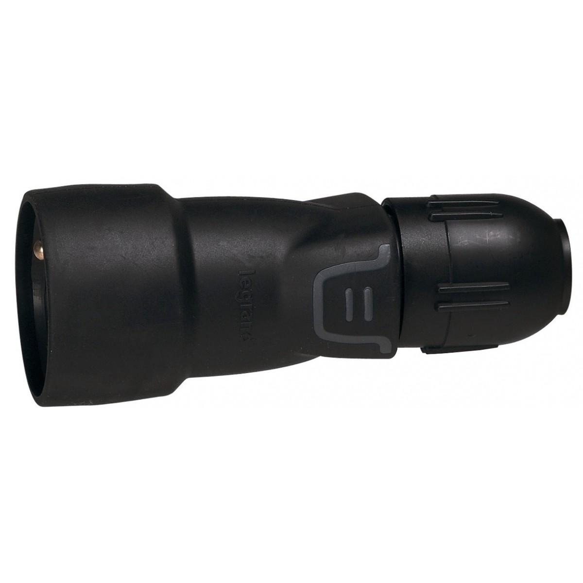 Fiche caoutchouc noire 2P+T 16 A Legrand - Connexion auto et presse-étoupe - Standard Femelle