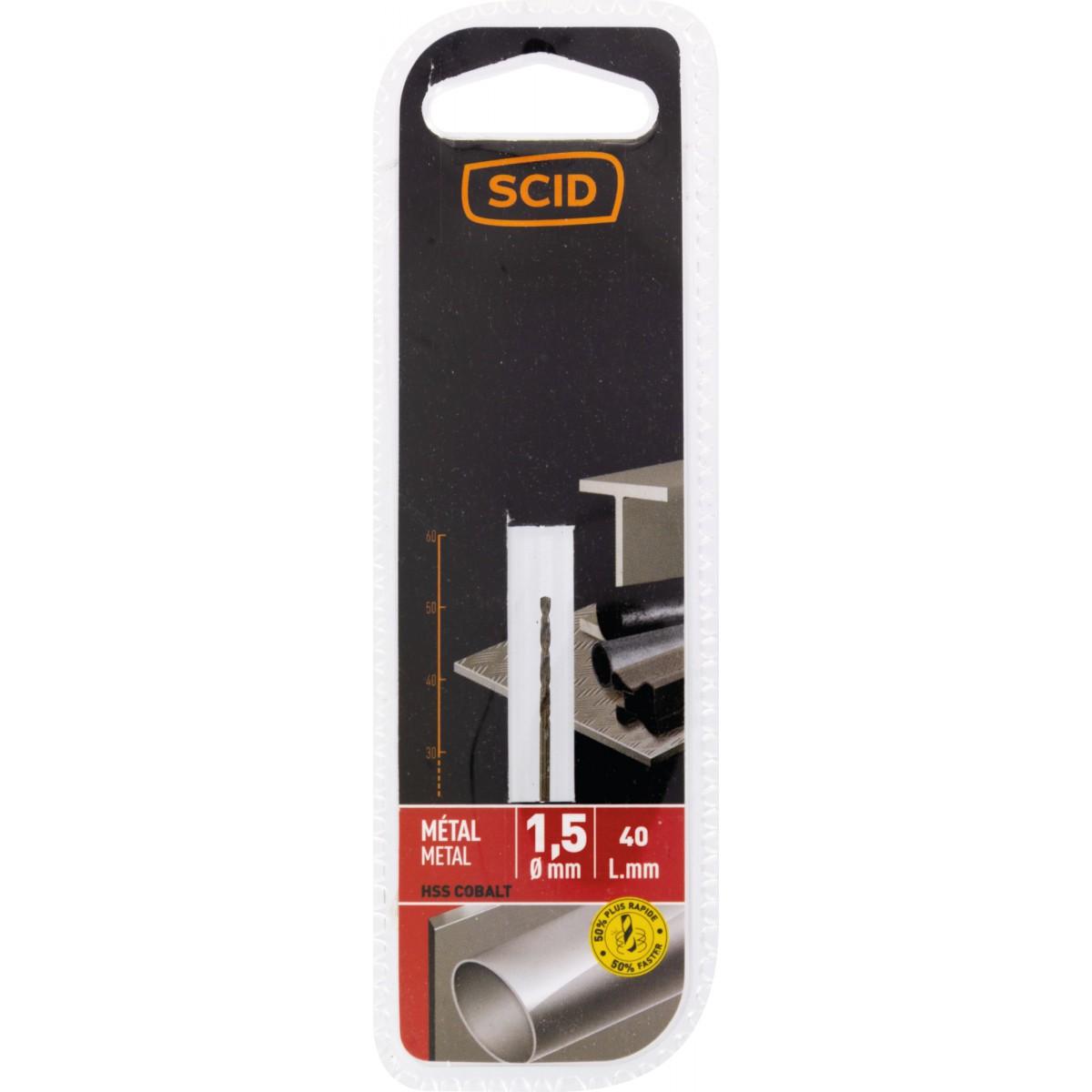 Foret métal HSS cobalt SCID - Longueur 40 mm - Diamètre 1,5 mm