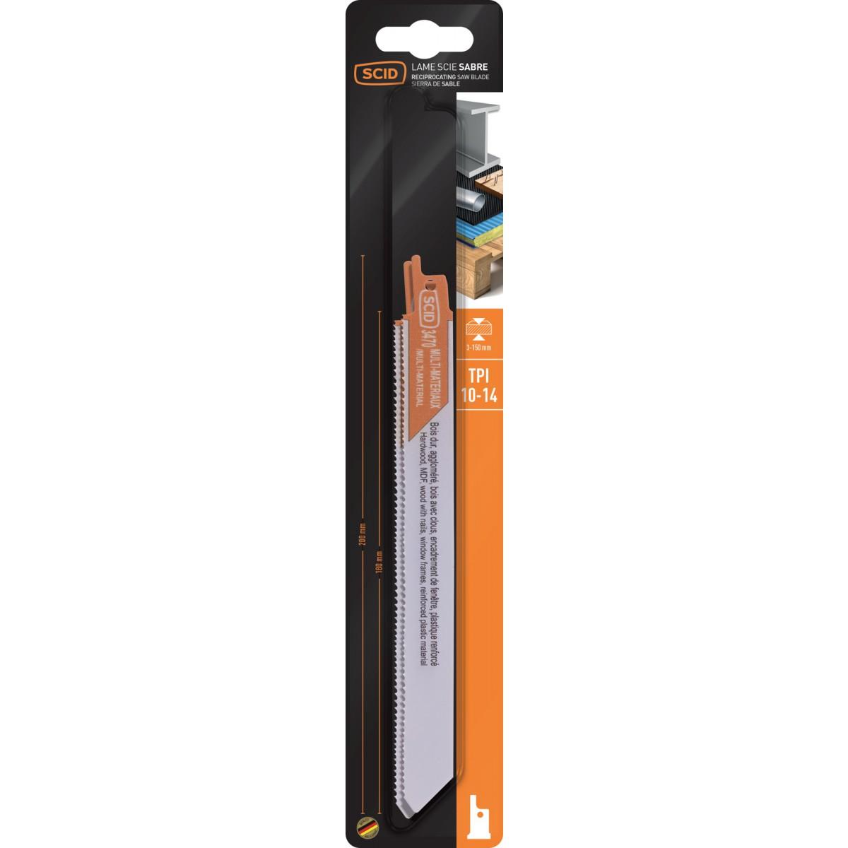Lame de scie sabre classique bois et matériaux SCID - Epaisseur 0,9 mm - Longueur 200 mm - Vendu par 2