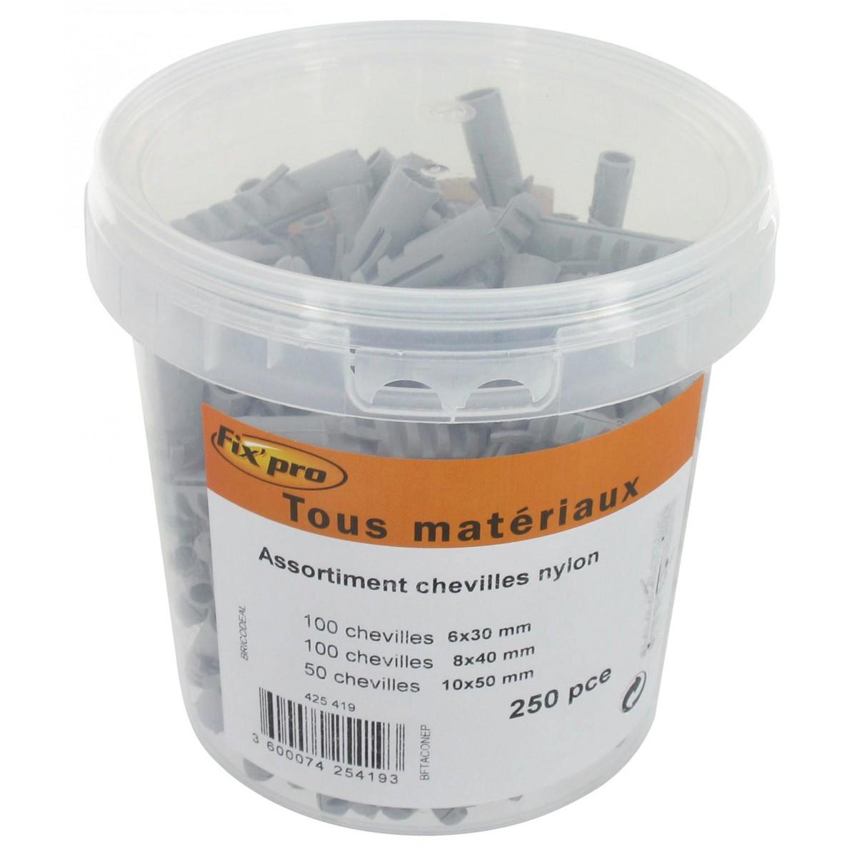 Assortiment de chevilles nylon Fix'Pro - 30 x 6 mm (x 100), 40 x 8 mm (x 100), 50 x 10 mm (x 50) - Vendu par 250