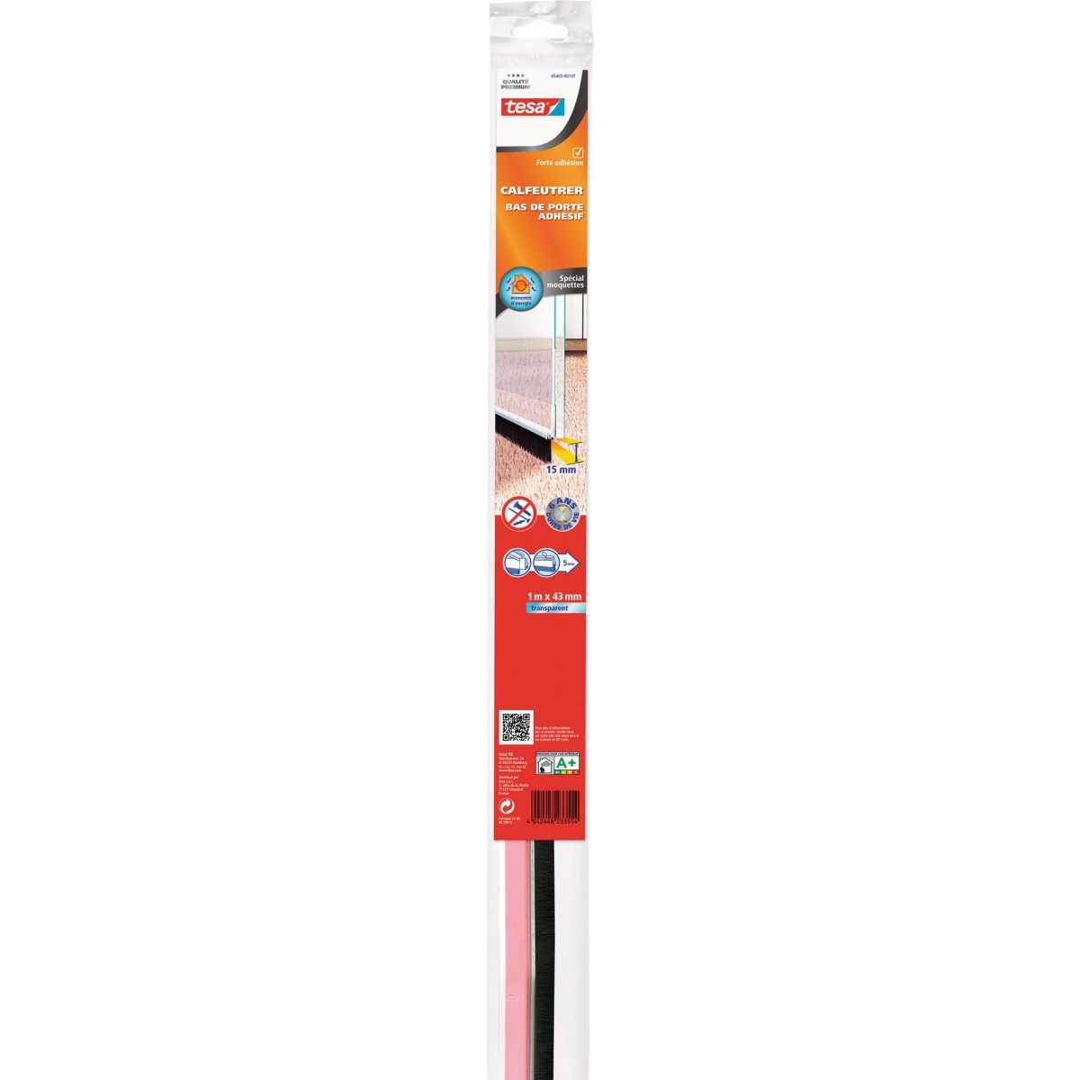Bas de porte adhésif  spécial moquettes Tesa - 1 m - Transparent