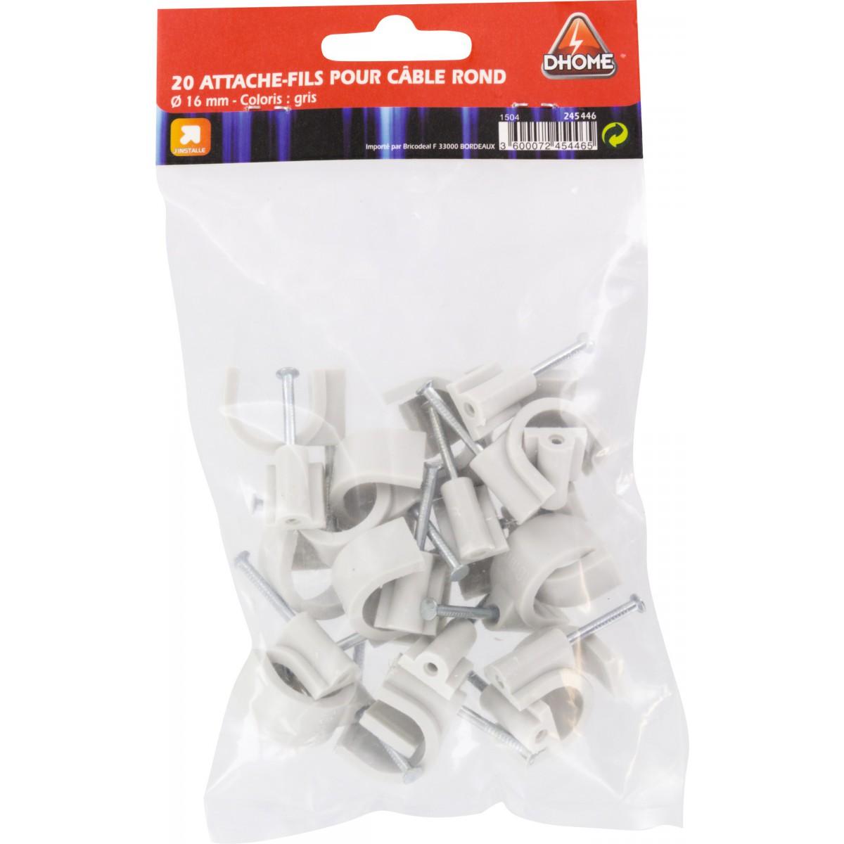 Pontet rigide gris Dhome - Diamètre 16 mm - Vendu par 20