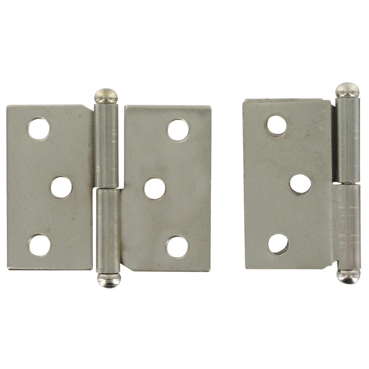 Paumelle de meuble acier nickelé PVM - Droite - Hauteur 40 mm - Largeur 50 mm - Vendu par 2