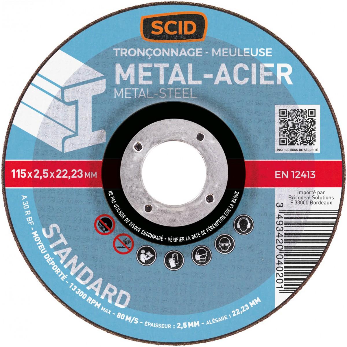 Disque à tronçonner standard SCID - Métaux - Diamètre 115 mm - Alésage 22,2 mm