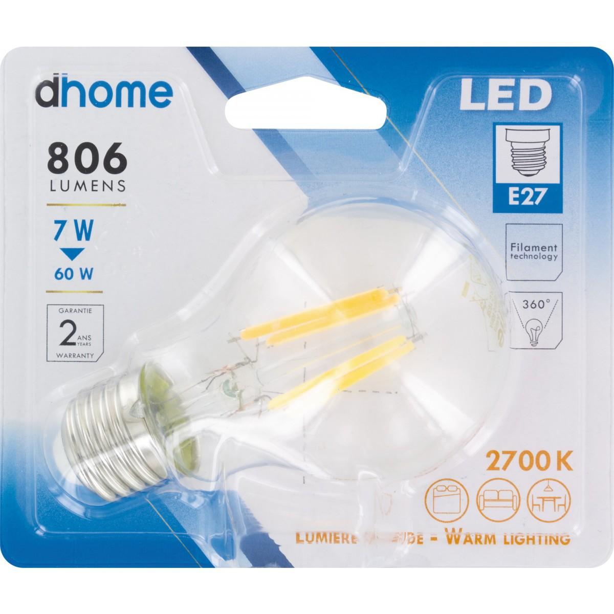 Ampoule LED standard claire à filament E27 dhome - 806 Lumens - 7 W - 2700 K