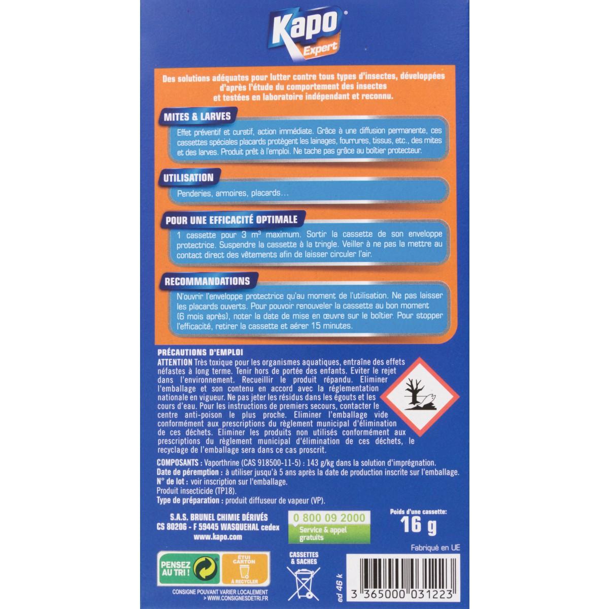Cassette mites larves Kapo Expert - Vendu par 2 cassettes