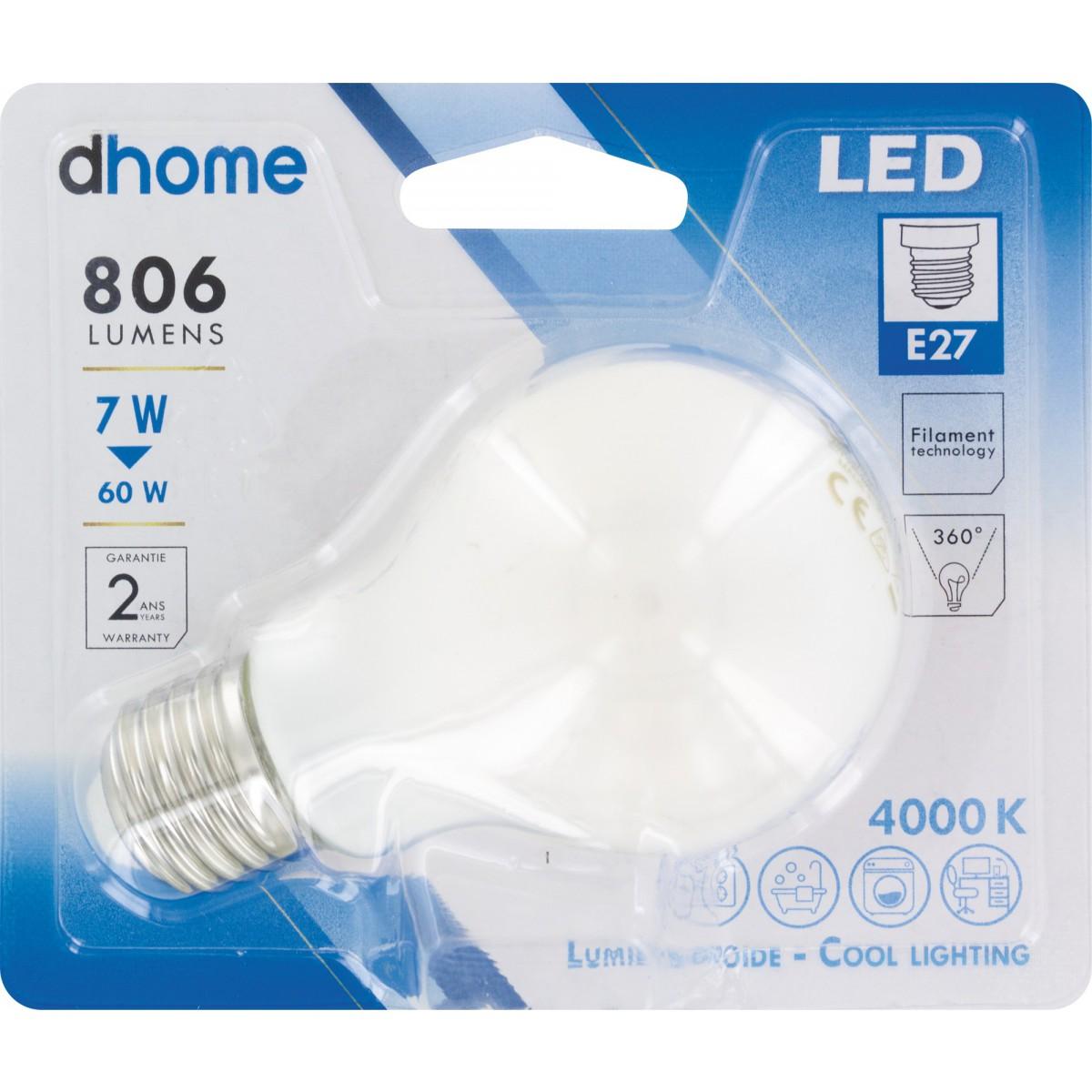 Ampoule LED standard à filament E27 dhome - 806 Lumens - 7 W - 4000 K