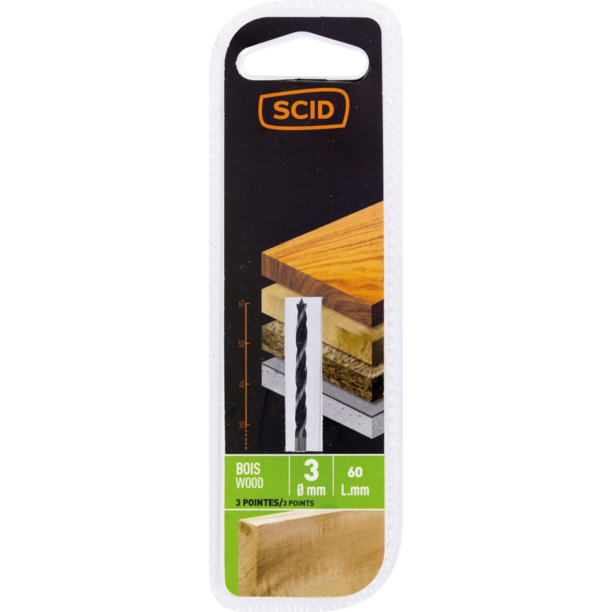 Mèche à bois 3 pointes SCID - Longueur 30 mm - Diamètre 3 mm