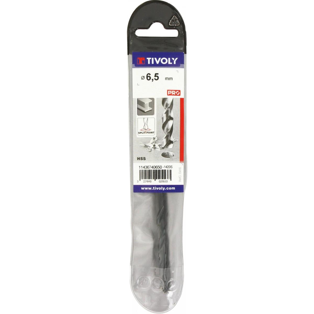 Foret métaux autocentrant qualité TX Tivoly - Diamètre 6,5 mm - Vendu par 1