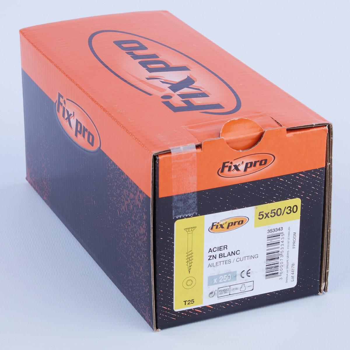 Vis à bois tête fraisée TX - 5x50/30 - 250pces - Fixpro