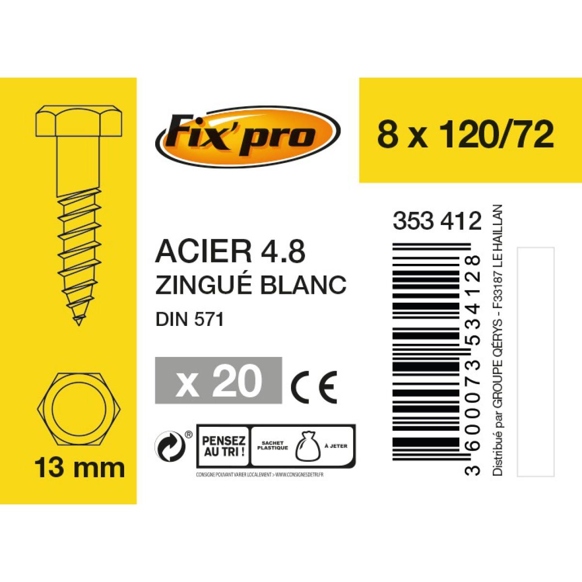 Tirefond tête hexagonale acier zingué - 8x120/72 - 20pces - Fixpro