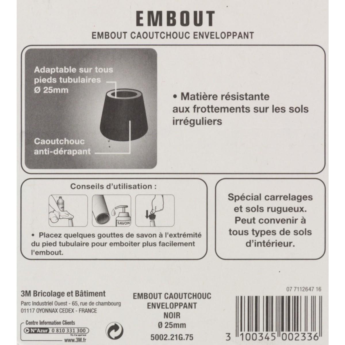 Embout caoutchouc enveloppant antidérapant 3M - Diamètre 25 mm - Vendu par 2