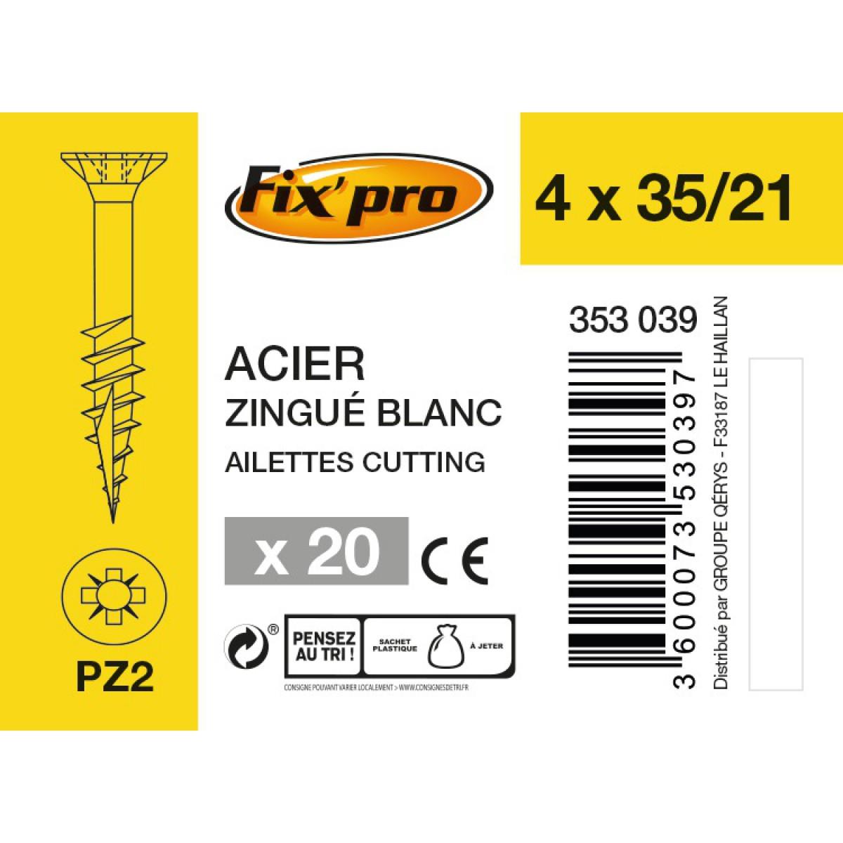 Vis à bois tête fraisée PZ - 4x35/21 - 20pces - Fixpro