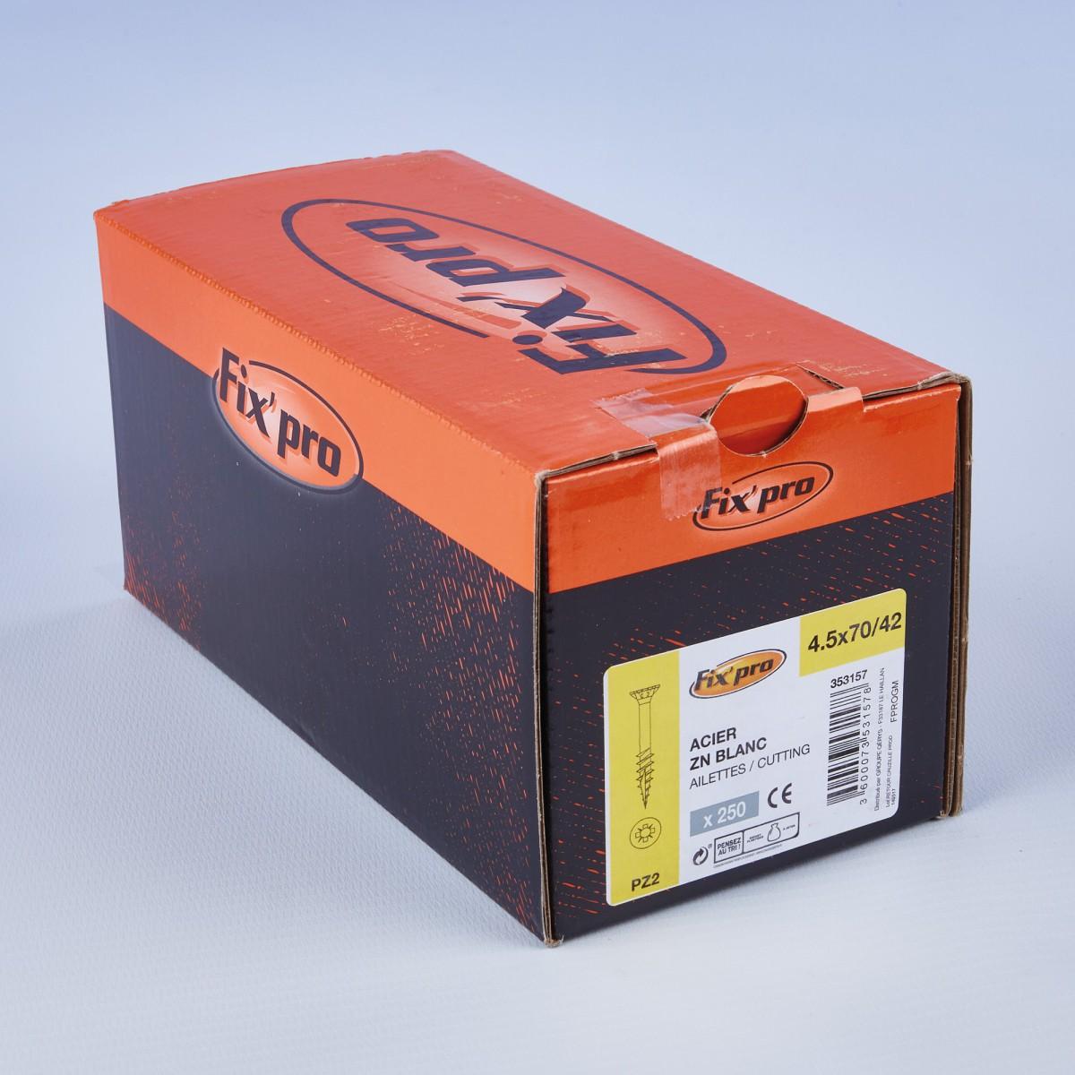 Vis à bois tête fraisée PZ - 4,5x70/42 - 250pces - Fixpro