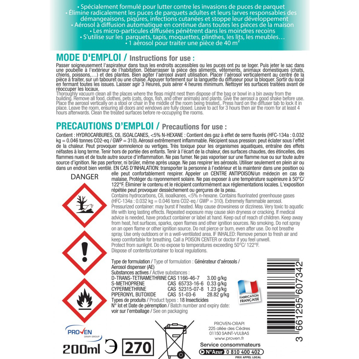 Anti puces de parquets Wyritol - Aérosol 200 ml