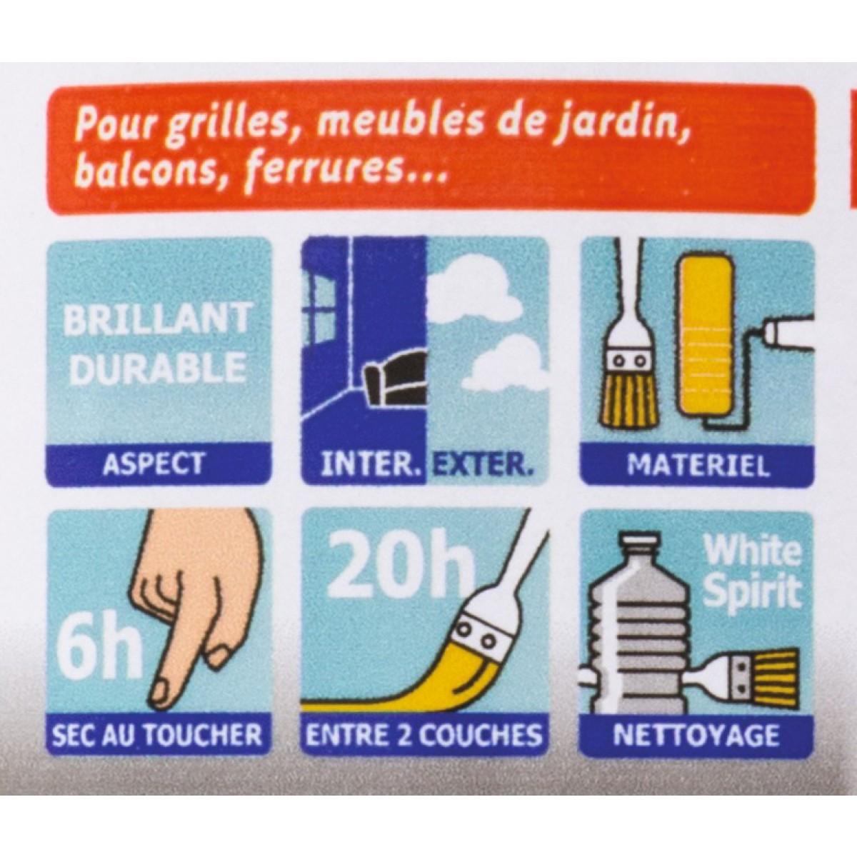 Laque antirouille Julien - Noir brillant - Boîte 250 ml