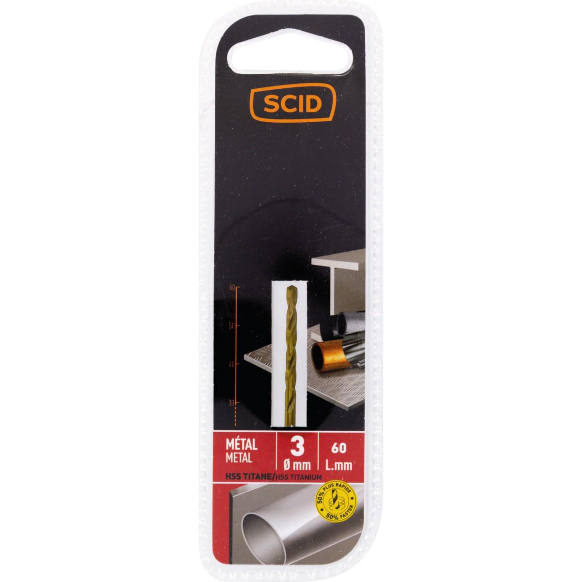 Foret métal HSS titane SCID - Longueur 60 mm - Diamètre 3 mm
