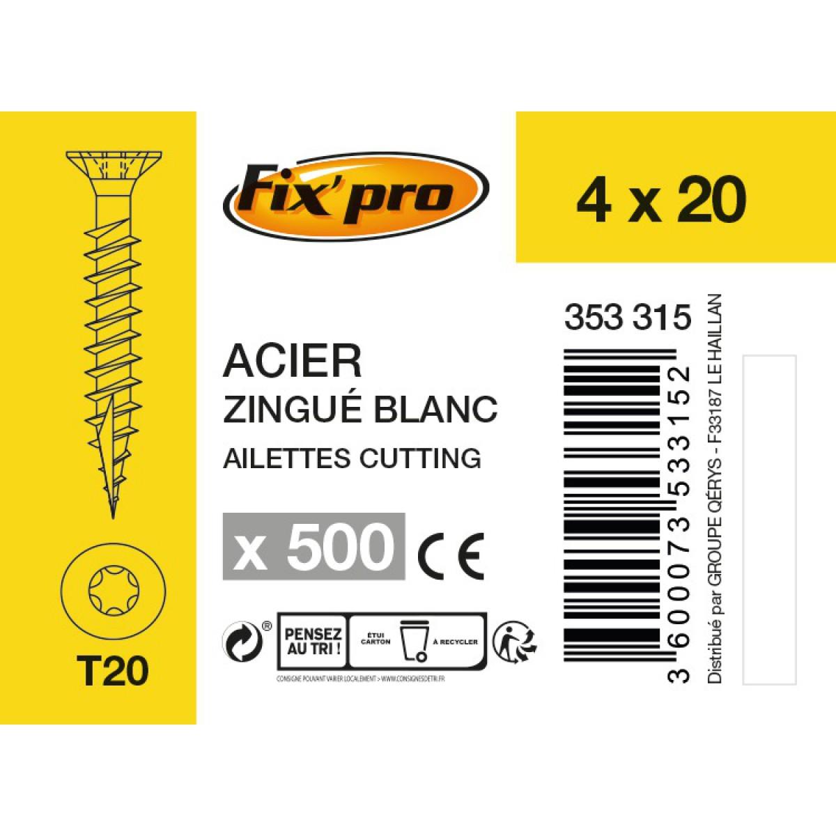 Vis à bois tête fraisée TX - 4x20 - 500pces - Fixpro