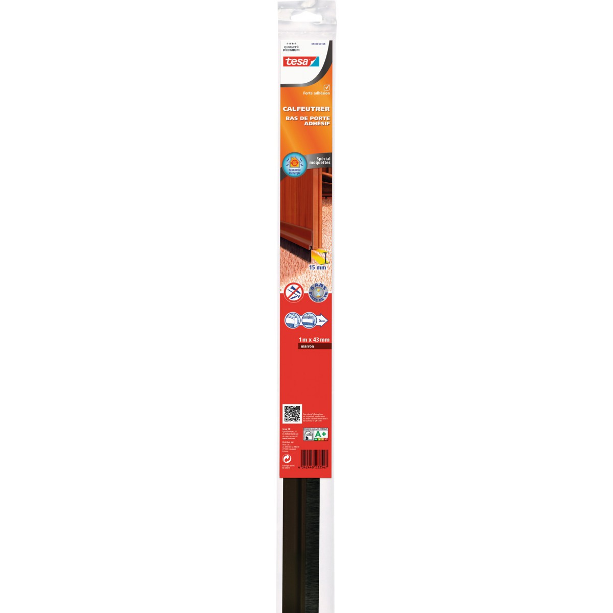 Bas de porte adhésif  spécial moquettes Tesa - 1 m - Brun