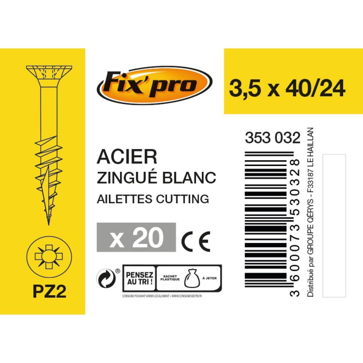 Vis à bois tête fraisée PZ - 3,5x40/24 - 20pces - Fixpro