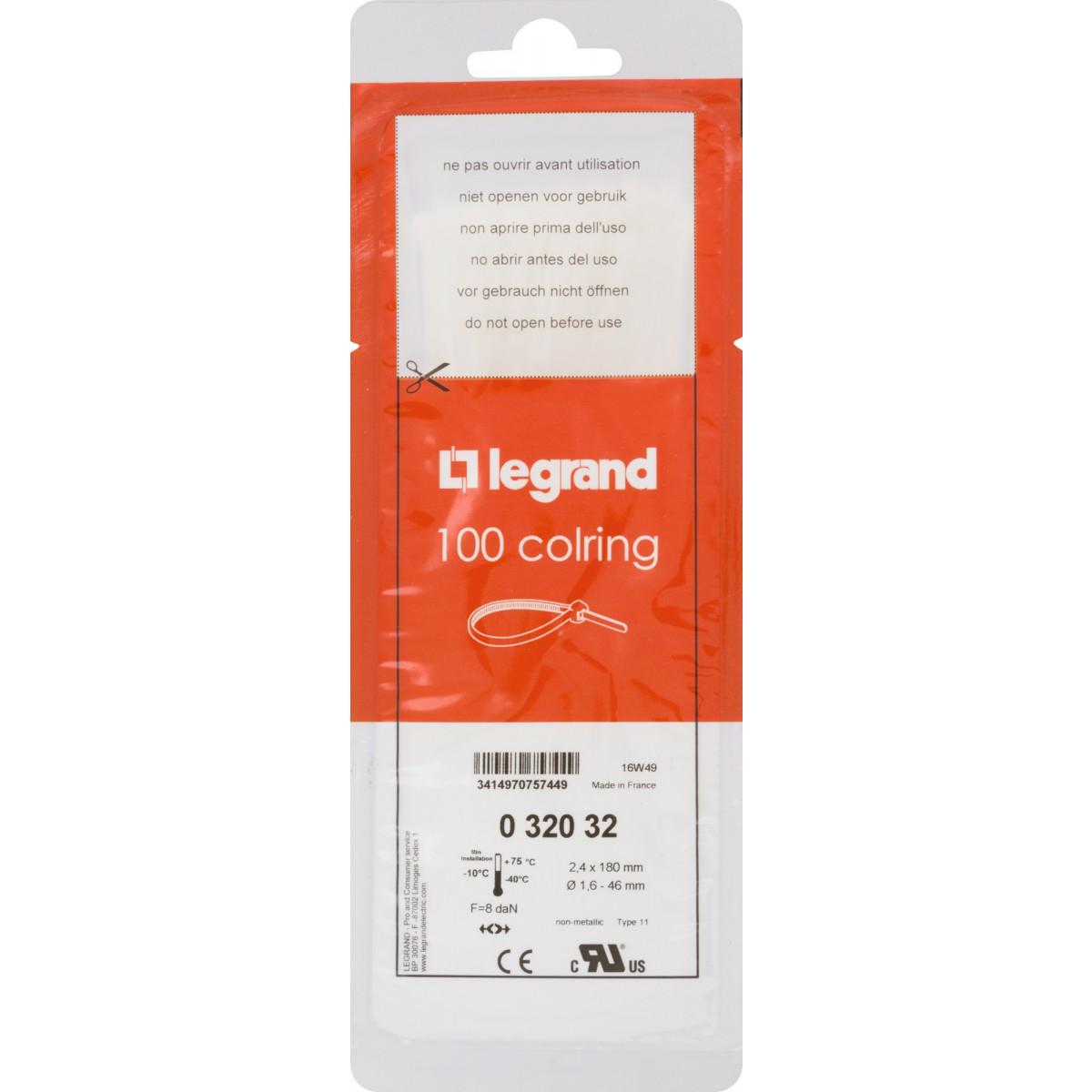 Collier Colring incolore Legrand - Dimensions 180 x 2,4 x 46 mm - Vendu par 100