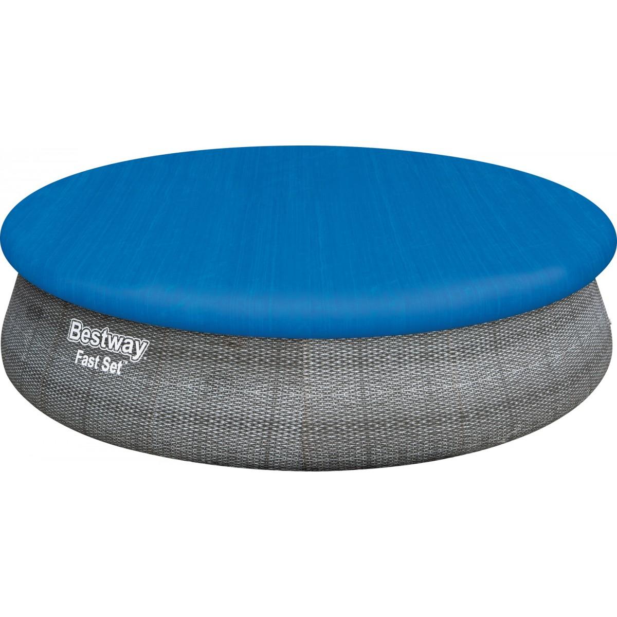 Piscine hors sol ronde Fast Set Bestway - Décor rotin gris - Diamètre 457 cm - Hauteur 107 cm