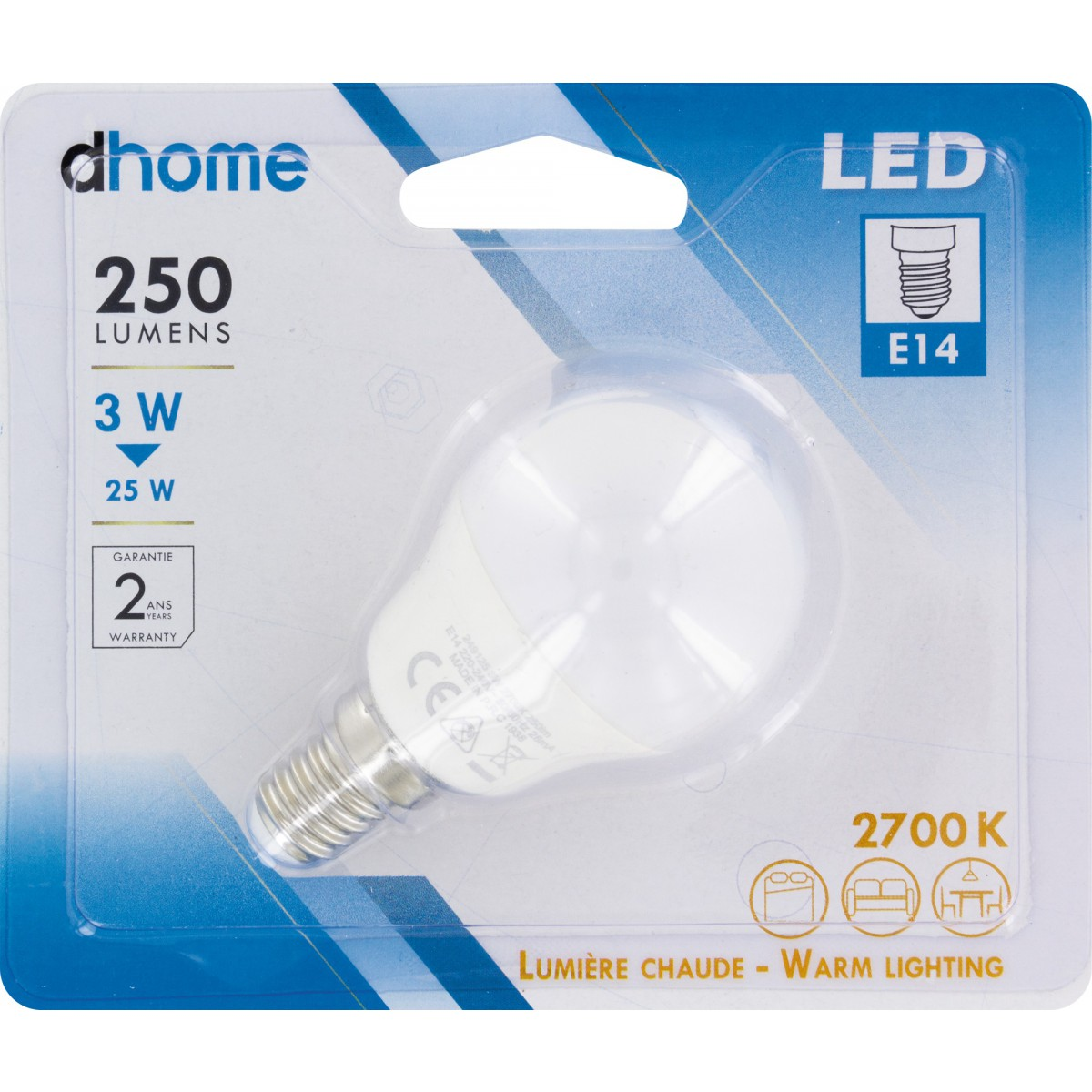 Ampoule LED sphérique E14 dhome - 250 Lumens - 3 W - 2700 K