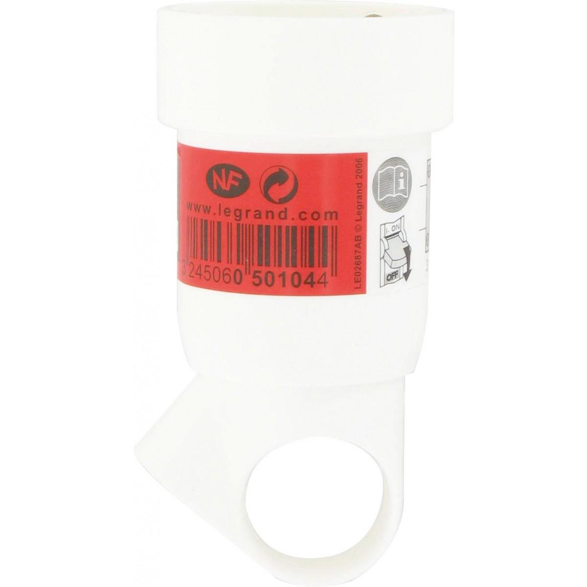Fiche plastique avec anneau 2P+T 16 A Legrand - Femelle - Blanc