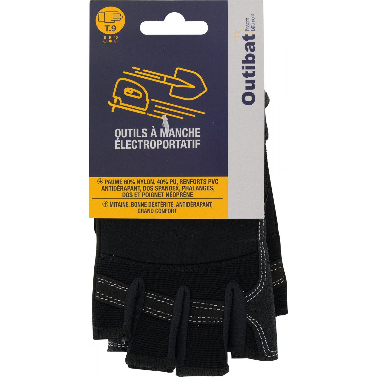 Mitaines cuir synthétique antidérapant poignet auto-grippant Outibat - Taille 9