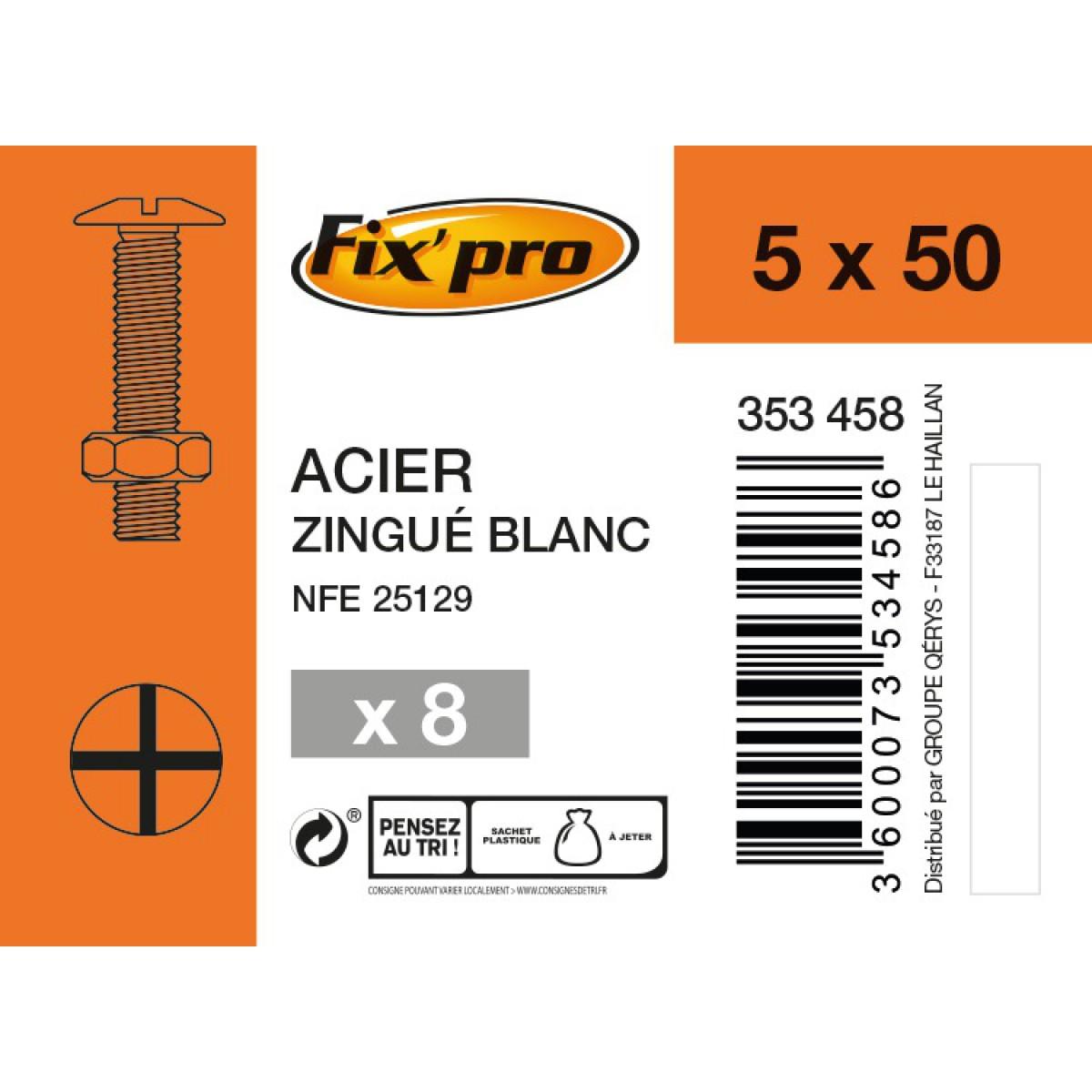 Boulon poêlier acier zingué - 5x50 - 8pces - Fixpro