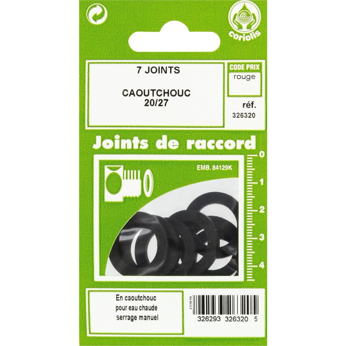 Joint caoutchouc EPDM - Filetage 20 x 27 mm - Vendu par 7