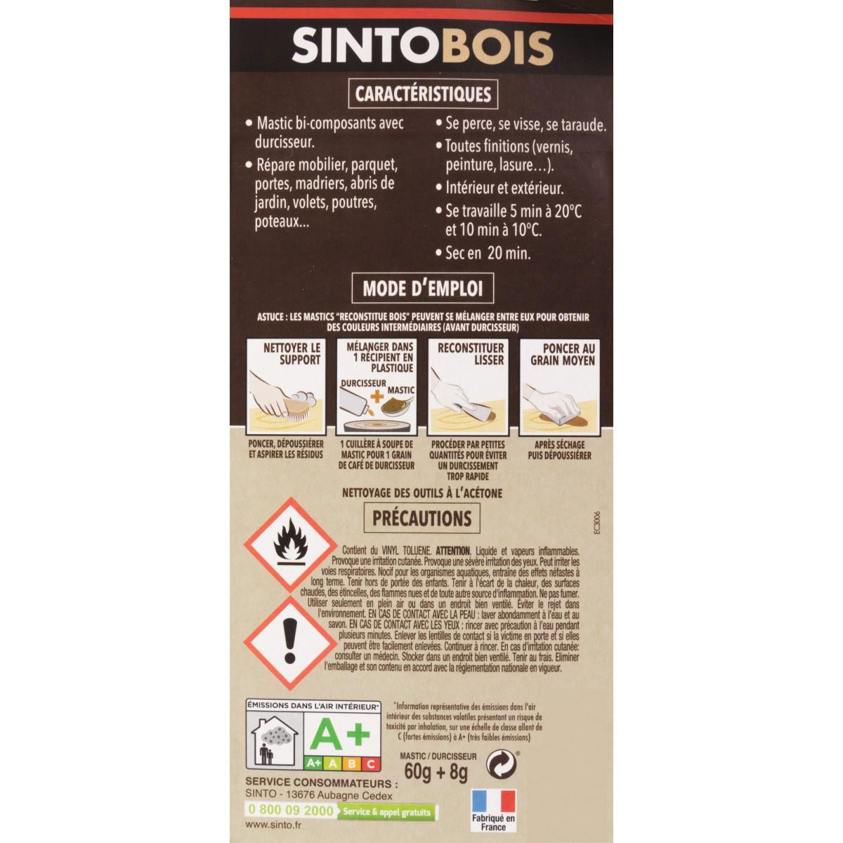 Sintobois mastic à bois avec durcisseur Sinto - Tube 66 ml / 80 g - Chêne clair