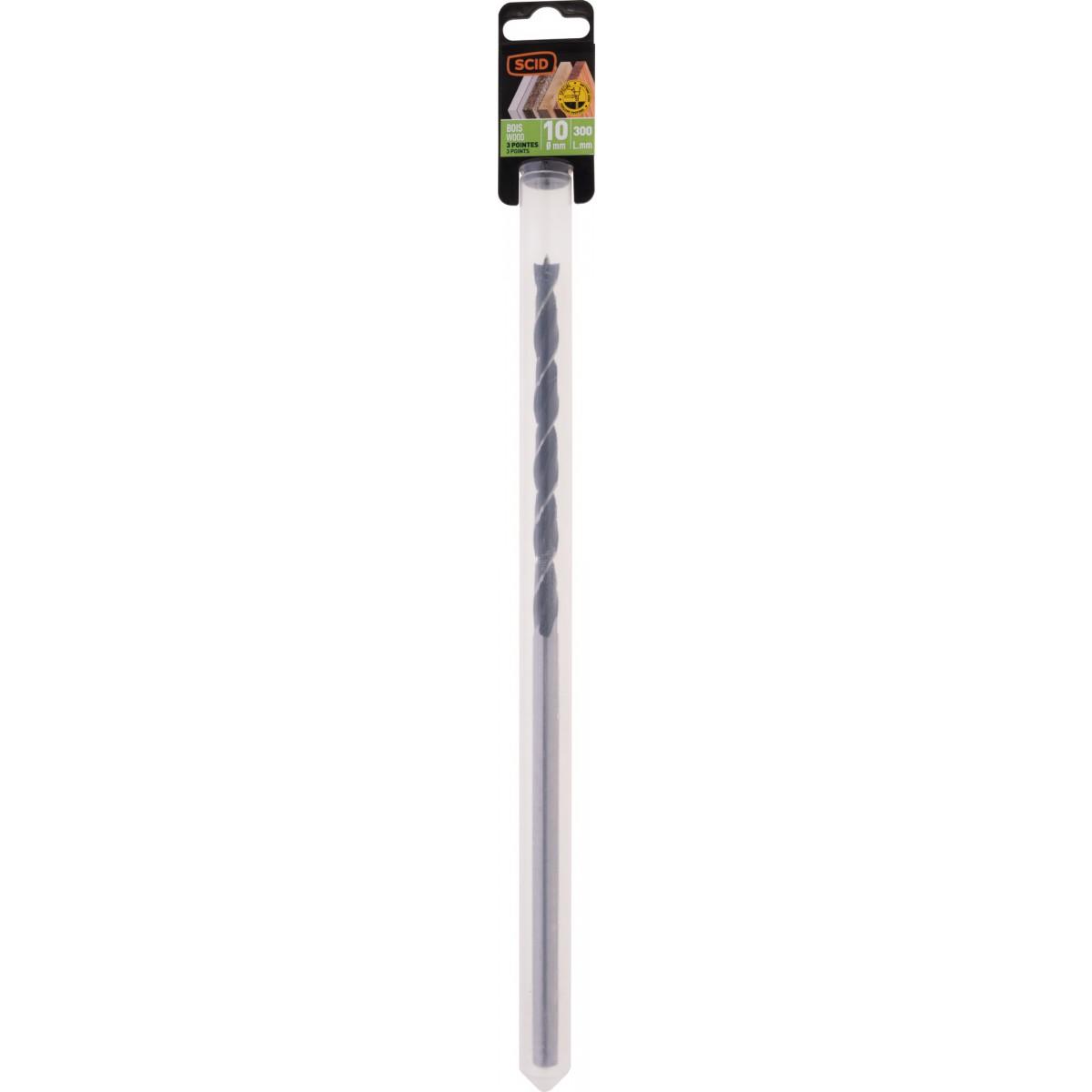 Mèche à bois 3 pointes SCID - Longueur 300 mm - Diamètre 10 mm