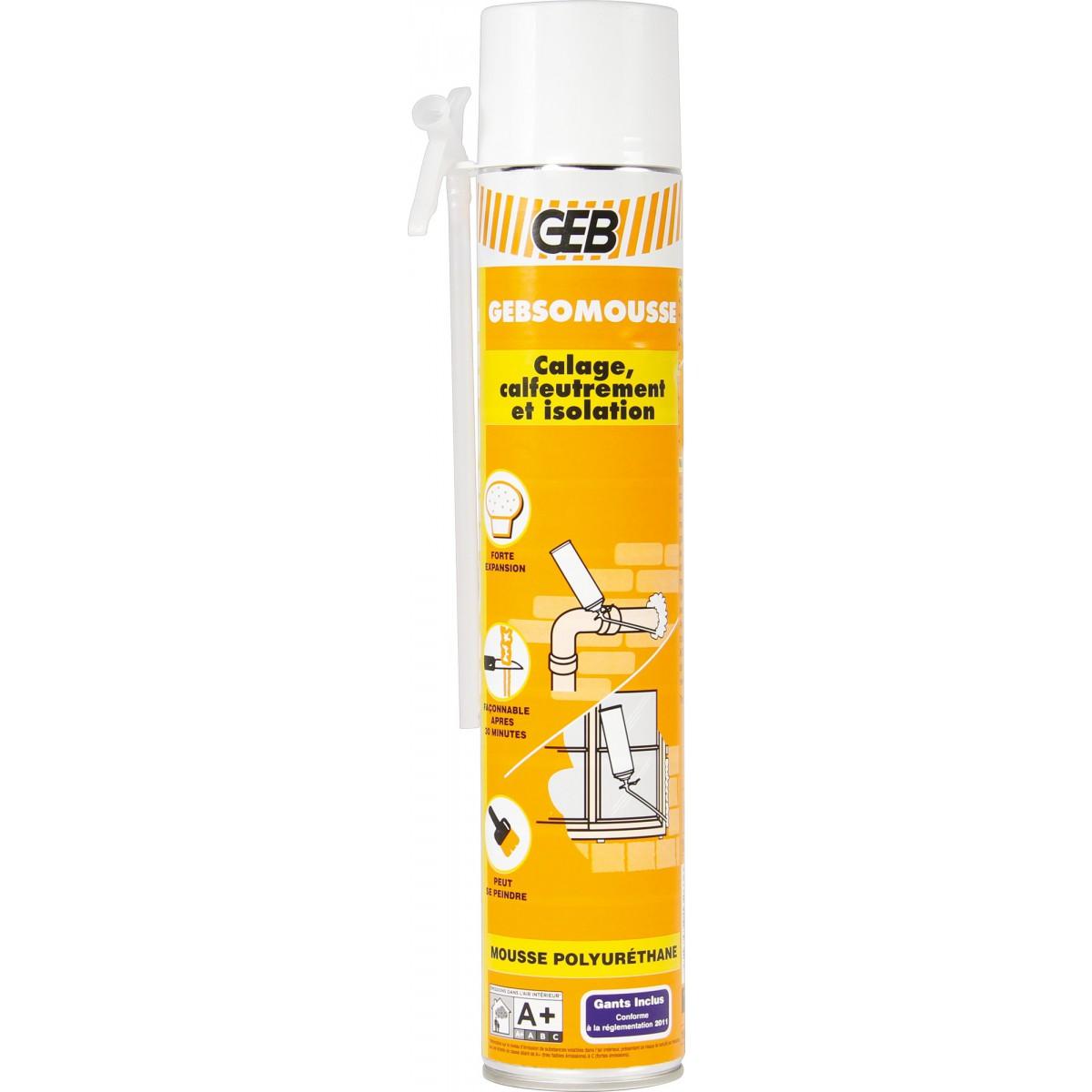 Mousse polyuréthane Gebsomousse - Aérosol 750 ml - Avec gants