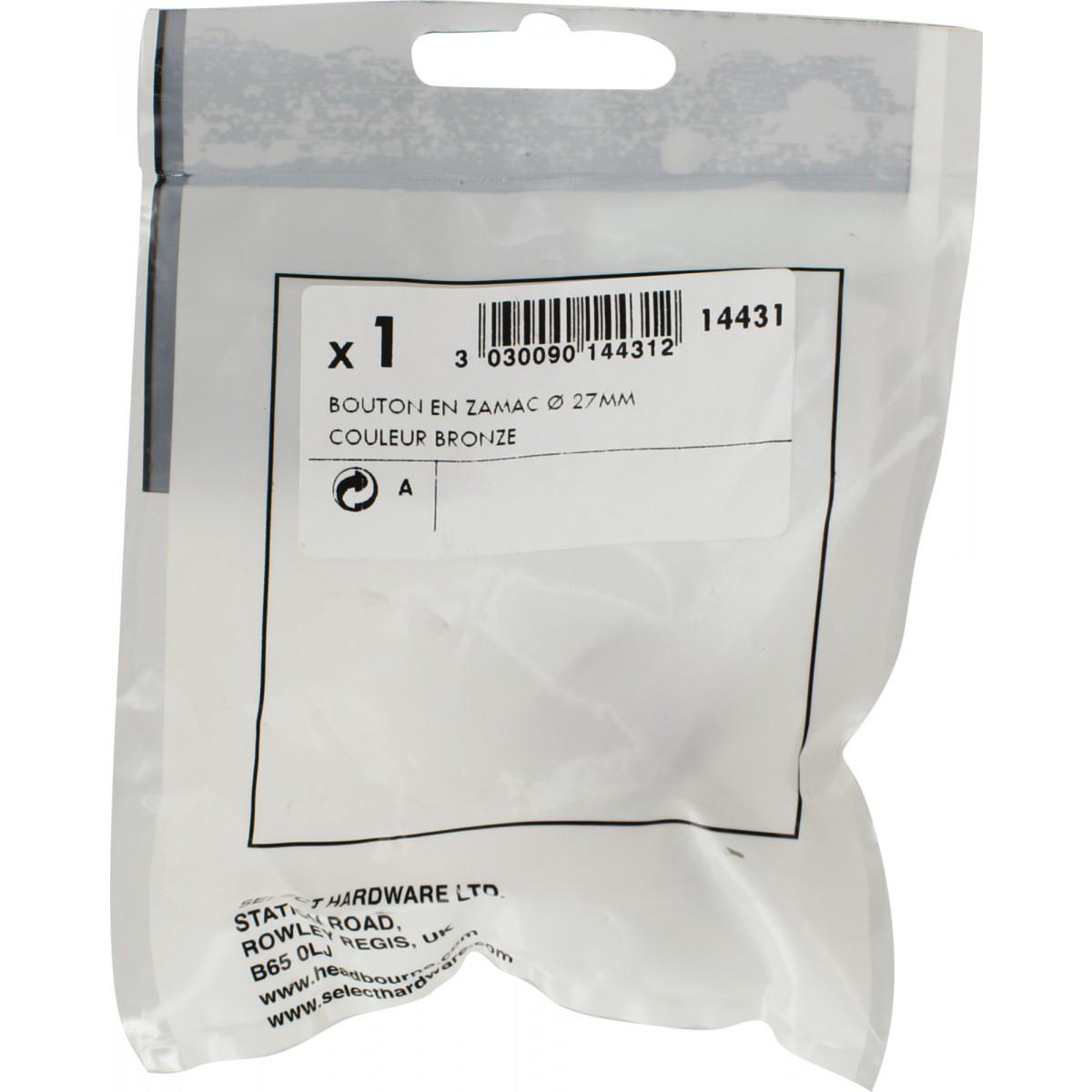 Bouton rustique Headbourne - Bronze - Diamètre bouton 30 mm - Base 19 mm - Vendu par 1