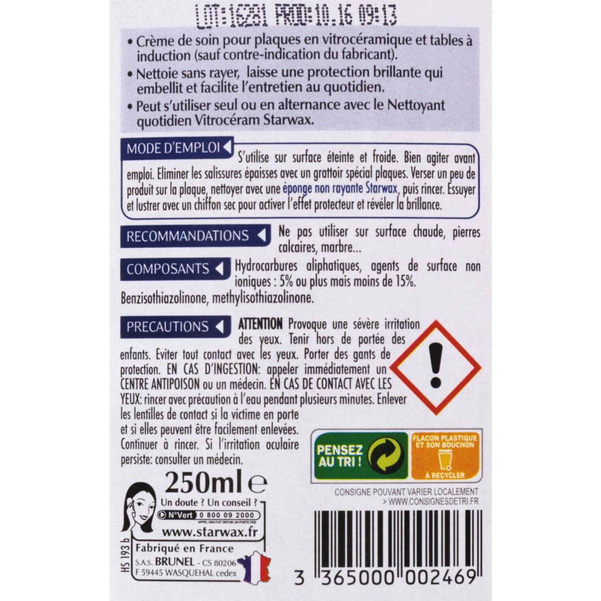 Crème de soin pour vitrocéramique Starwax - Flacon 250 ml